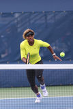 Seventeen times Grand Slam champion Serena Williams practices for US Open 2014 at Billie Jean King National Tennis Center Royalty Free Stock Images