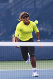 Seventeen times Grand Slam champion Serena Williams practices for US Open 2014 at Billie Jean King National Tennis Center Stock Photo