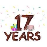Seventeen Years Anniversary celebration card. 17th birthday vector illustration Stock Photo