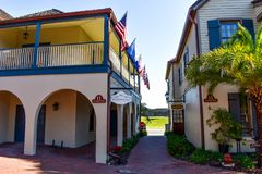 Seventeenth century mansions in St. George St. at Old Town in Florida`s Historic Coast 4. St. Augustine, Florida. January 26 , 2019 . Seventeenth century stock images