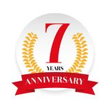 Seventh anniversary badge label. Vector Royalty Free Stock Photography