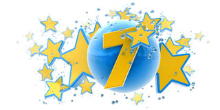 Seventh anniversary blue and yellow. Background in blue and yellow colors with stars drops and spheres and the number seven Stock Photos