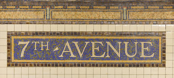 Seventh Avenue Station Subway Sign Stock Images