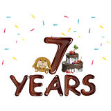 Seventh birthday with toy and cake. Vector illustration Stock Photo