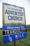 Seventh-Day Adventist Church sign in New Jersey royalty free stock photography