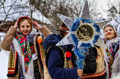 Seventh Ethnic Festival Christmas Carols in the old village. Uzhgorod, Ukraine - January 15, 2017: Female folklore collective performs during the seventh ethnic stock photos