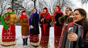 Seventh Ethnic Festival Christmas Carols in the old village. Uzhgorod, Ukraine - January 15, 2017: Female folklore collective performs during the seventh ethnic stock images