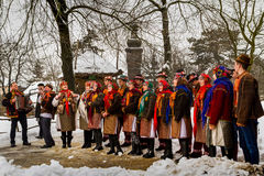 Seventh Ethnic Festival Christmas Carols in the old village. Uzhgorod, Ukraine - January 15, 2017: Female folklore collective performs during the seventh ethnic royalty free stock photography