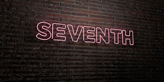 SEVENTH -Realistic Neon Sign on Brick Wall background - 3D rendered royalty free stock image. Can be used for online banner ads and direct mailers Royalty Free Stock Images