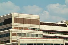 Seventies building. Photo of a seventies-style building in central London, UK Stock Images