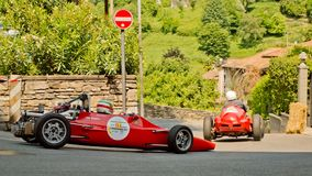 Seventies Formula 2 car at Bergamo Historic Grand Prix 2017. A Seventies Formula 2 car driving down the hairpin at the end of Boccola street in Citta` Alta the Royalty Free Stock Photo