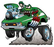 Seventies Green Hot Rod Funny Car Cartoon Vector Illustration. Hysterical green gremlin monster driving a funny street rod, popping a wheelie, huge chrome engine royalty free illustration