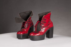 Seventies platform shoes. Old red seventies platform shoes Stock Photo
