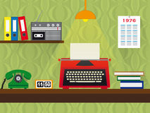 Seventies retro work place with typewriter, telephone and cassette recorder, vintage wallpaper background Stock Photos