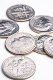 Seventy cents. A loose pile of US dimes stock image