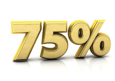 Seventy five gold percent Stock Photo