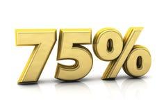 Seventy five gold percent Stock Photo