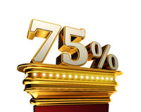 Seventy five percent figure over white background stock illustration