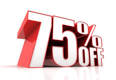 Seventy five percent off sale concept 3d illustration Royalty Free Stock Photography
