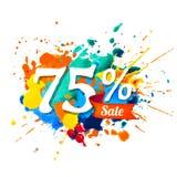 75 percents sale. Splash paint. Seventy five percents sale. Vector splash paint Stock Illustration