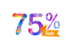 75 seventy five percents sale. Vector triangular digits Royalty Free Illustration