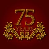 Seventy five years anniversary celebration patterned logotype. Seventy fifth anniversary vintage golden logo. With shadow Stock Photo
