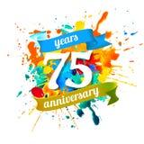 75 years anniversary years anniversary. Splash paint. Seventy five years anniversary. Vector watercolor splash paint Stock Photos