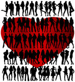Seventy four silhouettes Stock Images