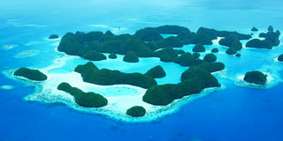 Seventy Islands. Aerial view of Palau's seventy islands Royalty Free Stock Photo