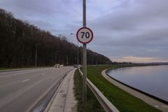Seventy kilometers per hour speed limit. On country road Stock Photography