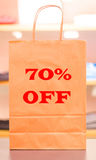 Seventy percent off. A sale in clothing store giving you 70 percent off on all of their items Royalty Free Stock Image