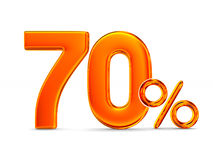 Seventy percent on white background. Isolated 3D illustration Royalty Free Stock Photography
