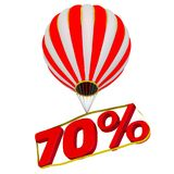 Seventy percentage flies in a hot air balloon. Isolated. 3D Illustration Royalty Free Stock Photography