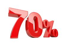 Seventy red percent symbol. 70% percentage rate. Special offer d. Iscount. 3d illustration isolated over white background Royalty Free Stock Photos