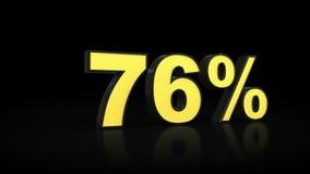 Seventy-six 76 % percent 3D rendering. Seventy-six 76 percent caption 3D rendering Royalty Free Stock Photography