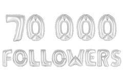 Seventy thousand followers, chrome grey color. Chrome grey alphabet balloons, 70K seventy thousand followers, chrome grey number and letter balloon Royalty Free Stock Image
