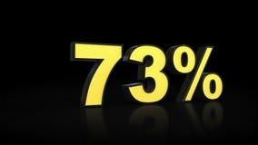 Seventy-three rendições dos por cento 3D de 73% Imagens de Stock