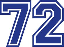 Seventy-two college number 72. Vector Royalty Free Stock Images