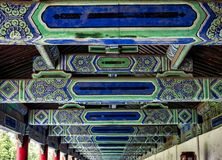 The Seventy-two Long Corridors rooftop ornament in detail at the Temple of Heaven, Beijing, China.  royalty free stock photos