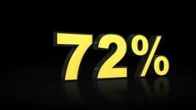 Seventy-two rendições dos por cento 3D de 72% Fotos de Stock Royalty Free