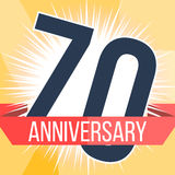 Seventy years anniversary banner. 70th anniversary logo. Vector illustration. Stock Photography