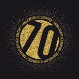 Seventy years anniversary celebration golden logotype. 70th anniversary gold logo. Vector stock illustration
