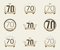Seventy years anniversary celebration logotype. 70th anniversary logo collection. Stock Images