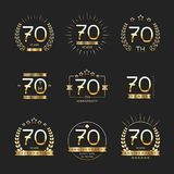 Seventy years anniversary celebration logotype. 70th anniversary logo collection. Vector Stock Photos