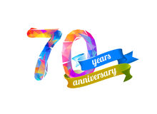 70 seventy years anniversary. Vector triangular digits Royalty Free Stock Photo
