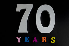 Seventy years. Figures and year on a black background Royalty Free Stock Photo