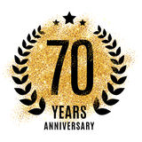 Seventy years golden anniversary. Sign. Gold glitter celebration. Light bright symbol for event, invitation, award, ceremony, greeting. Laurel and star emblem royalty free stock photo