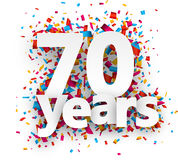 Seventy years paper confetti sign. Royalty Free Stock Images