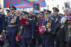Seventy years since the Victory in Russia. 9 may - Victory Day. Saint Petersburg, Russia - may 9, 2015: Parade in honor of the seventieth anniversary of the Stock Images