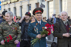 Seventy years since the Victory in Russia. 9 may - Victory Day. Saint Petersburg, Russia - may 9, 2015: Parade in honor of the seventieth anniversary of the Stock Photos